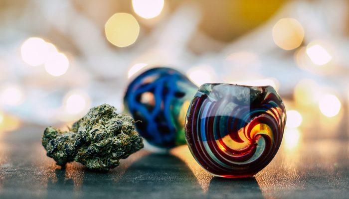 cannabis bud glass pipe